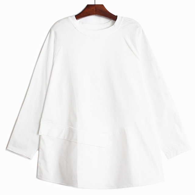 [EAM] Women Asymmetrical Spliced Button Big Size T-shirt New Round Neck Long Sleeve  Fashion Tide  Spring Autumn 2021 1DD3065 2