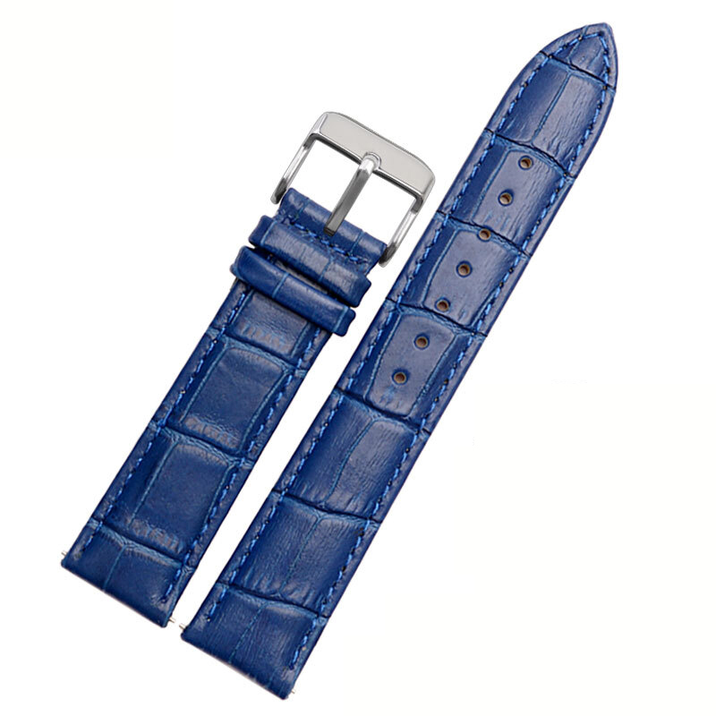 Free Shipping Leather Watch Strap 22mm Blue Color Watch Band Replacement Wholesale Price