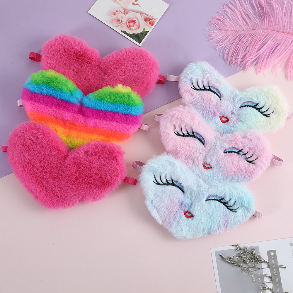 Fashion Love Eye Mask Polyester Variety Sleeping Mask Plush Eye Shade Cover Eyeshade Relax Mask For Travel Home Party Gifts