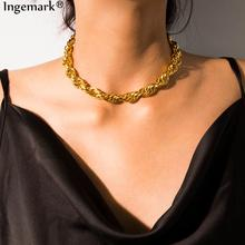 Gothic Punk Aluminum Chain Choker Necklace Collares Statement 2019 Hip Hop Steampunk Cuban Big Chunky Necklace for Women Jewelry punk chunky cuban multi layter necklace for women male vintage new design thick long chain necklace steampunk statement jewelry