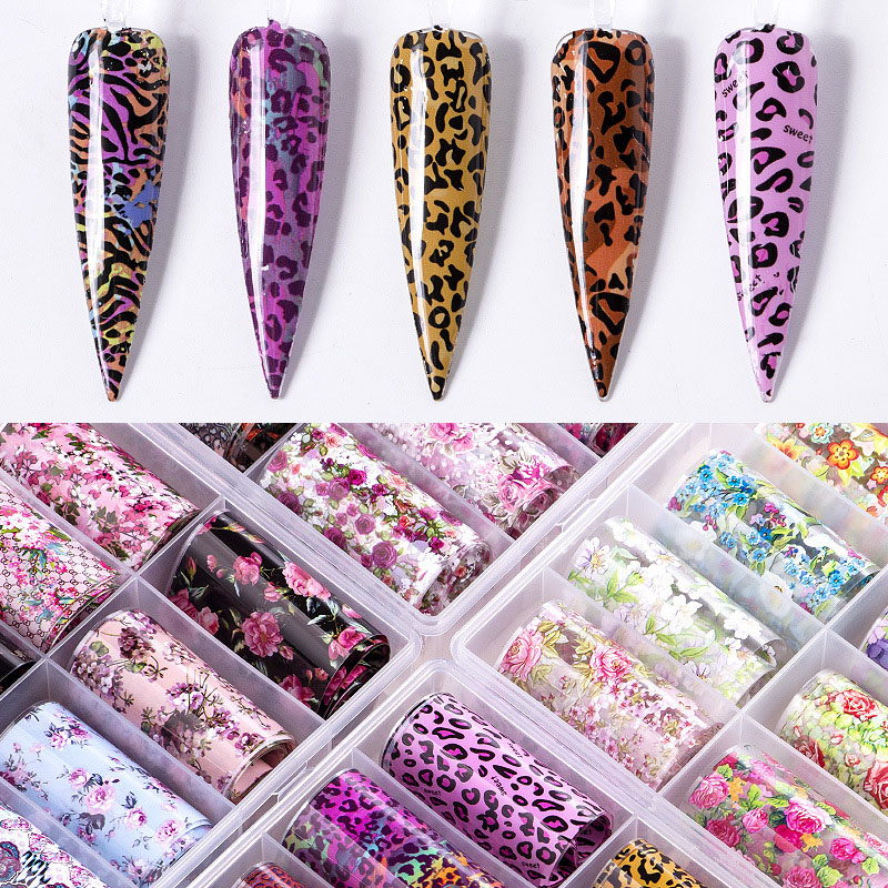 Nail Art Star Transfer Paper Leopard Print Candy Rose Christmas Series Suit Nail Stickers Snowflakes Laser 10 Mixed