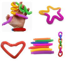 4~8 Colorful Plastic Pop Tube Coil Children'S Creative Magical ToysCircle Funny Toys Early Development Educational Folding Toy