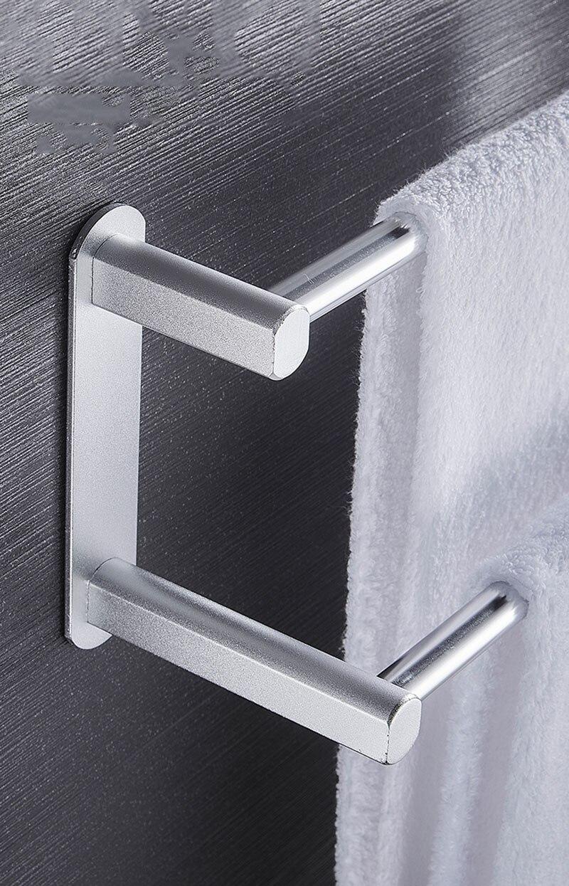 conocido Toallero montado en la pared 30-50 CM toallero ba/ño aluminio negro toallero barra mate negro toalla rack ba/ño inodoro rack double50cm
