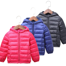 цена на New Autumn Winter Warm Lightweight Down Jacket For Girls Coat Rope Boys Windproof Hooded Jacket Kids Outerwear Children Clothes