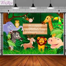 FENGRISE Safari Jungle Party Backdrop Baby Birthday Backdrop With Woodland Animals Photography Background Wild One Birthday yeele cartoon leaves monkey animals baby birthday party photography background customized photographic backdrop for photo studio