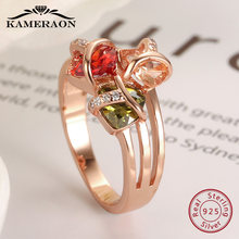 Ruby 925 Silver Ring Dainty Cubic Zirconia Silverware Topaz Gifts For Women Wide Rings Green Yellow Gemstones Plating Rose Gold(China)