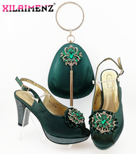 Office Ladies Ladies Shoes Matching Bag in Dark Green Color African MaMa Shoes and Bag Set Decorate with Rhinestone for Party