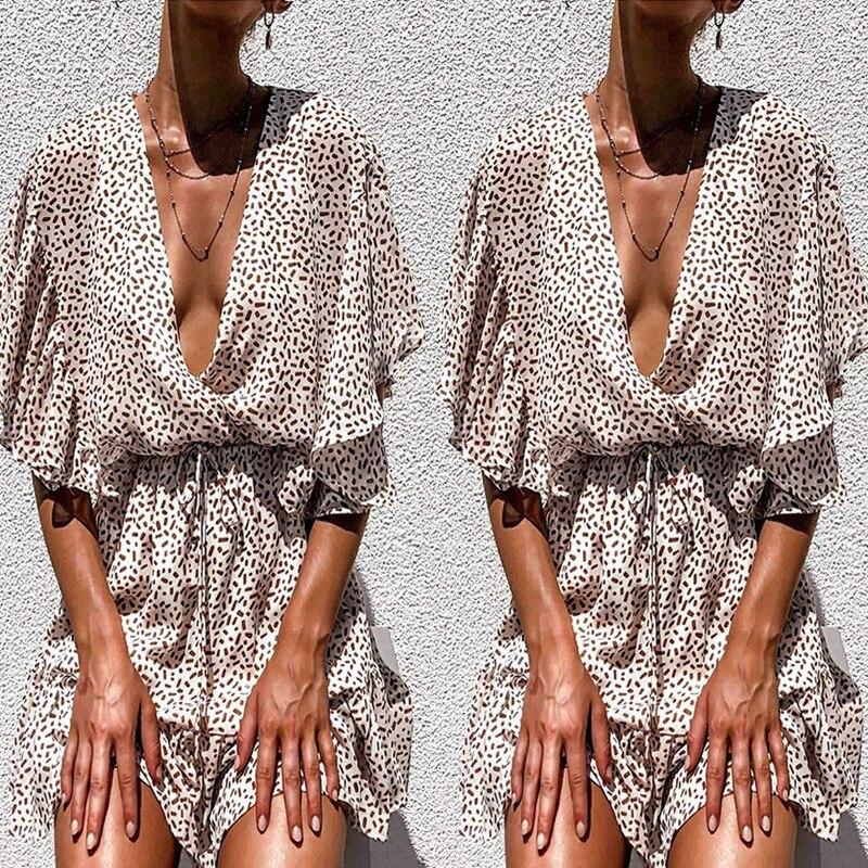 Шифоновые женские летние платья в горошек и сарафаны, сексуальное пляжное мини-платье с глубоким v-образным вырезом, вечерние платья с пуговицами сзади, одежда с оборками