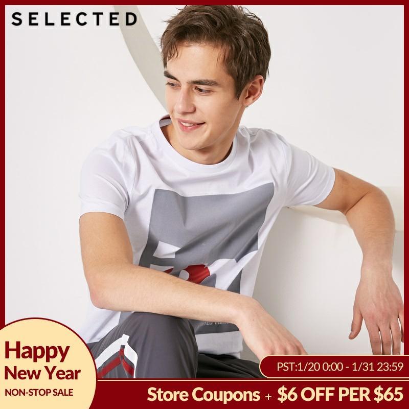 SELECTED Men 100% Cotton Letter Print O-Neck Short-sleeved T-shirt S|419101508