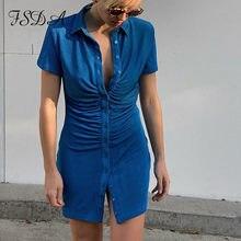 Fsda v neck manga curta ruched vestido casual mini verão azul curto feminino verde plissado festa design bodycon vestidos sexy