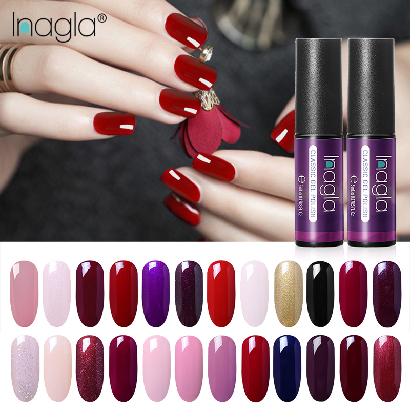 Inagla 5ML Classic Color Gel White Nail Polish Nail Art Design Manicure 60 Colors Soak Off Enamel Gel Polish LED UV Gel Varnish