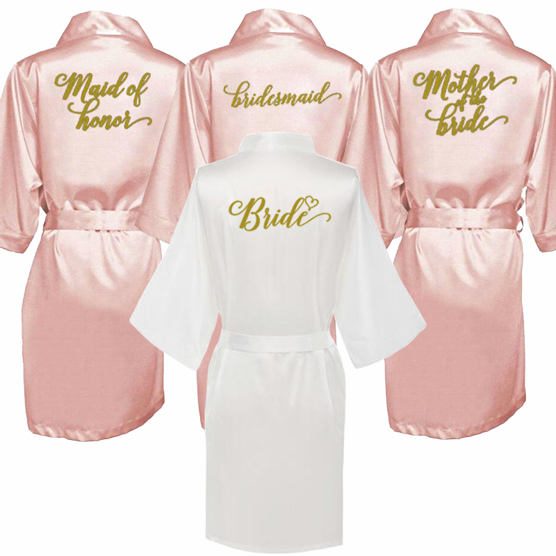 New Bridesmaid Robes Robes Bridal Robes Light Pink Satin Robe Bridesmaid Robes Wedding