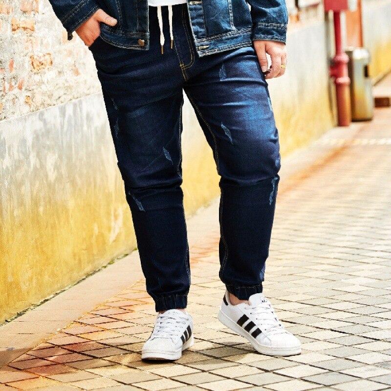 Plus-sized Elasticity Jeans Korean Wave Harem Elastic Waist Trousers Large Size Men'S Wear Plus-sized Pants Fat Ankle Banded Pan