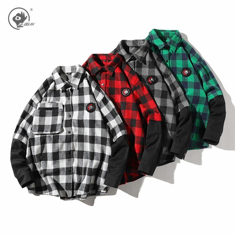 Little Rain Men's Spring Plaid Shirts 2020 Men Fashion Fake Two Shirts Long Sleeve Blouse Streetwear Loose Tops Male Shirts(China)