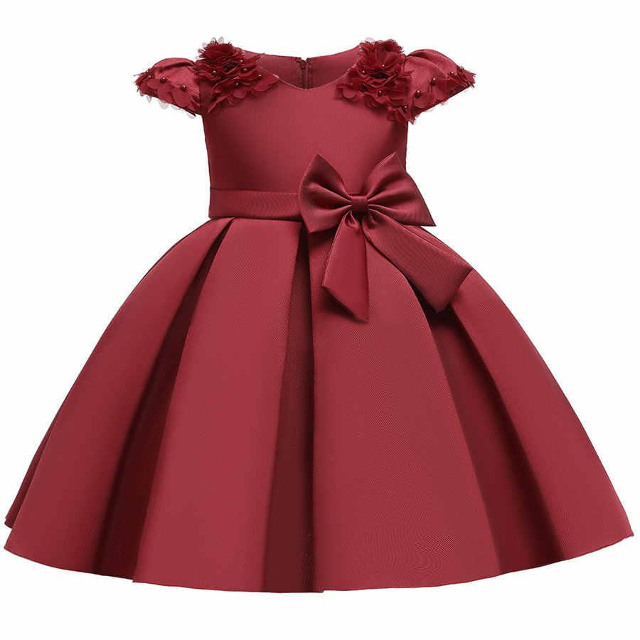 Azul escuro modesto voltar zíper puff manga formatura e vestido de gala meninas 4-11 anos de luxo frente arco applique capina vestidos crianças