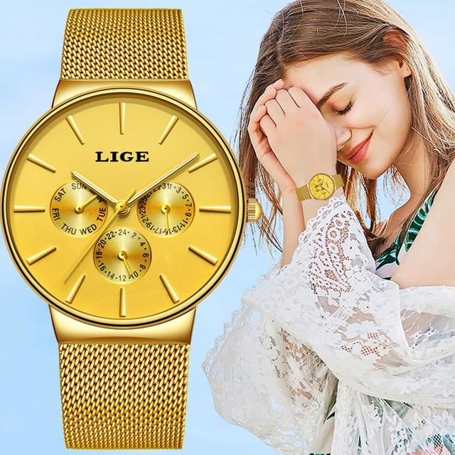 2020 LIGE قائمة جديدة كاملة الذهب النساء ساعات كوارتز ساعة السيدات العلامة التجارية الفاخرة الإناث ساعة فتاة ساعة Relogio Feminin + صندوق