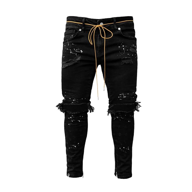 KSTUN Guys Ripped Skinny Jeans Knee Broken Holes Hip Hop Jeans Men Distressed Painting Black Blue 12