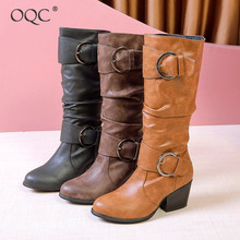 Купить с кэшбэком OQC Women Wedges Buckle Strap Middle Boots Autumn Winter Solid Casual Wild Block Heel Mid Calf Boots Outdoor Motorcycle Boot D25