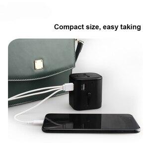 Image 5 - Uluslararası seyahat adaptörü çoklu fiş prizler 2 sigorta korumak evrensel adaptör çıkışı çift USB şarj tipi C şarj portları
