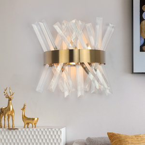 Image 4 - Crystal wall light fixture bedroom beside gold wall lamps AC 90 260V bathroom led wall sconce