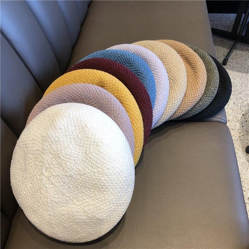 Korea New Summer Girls Beret Thin Breathable White Knitting Beret Women Painter Hat Spring Autumn