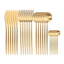 Набор кухонных столовых приборов 24 шт матовые золотые столовые