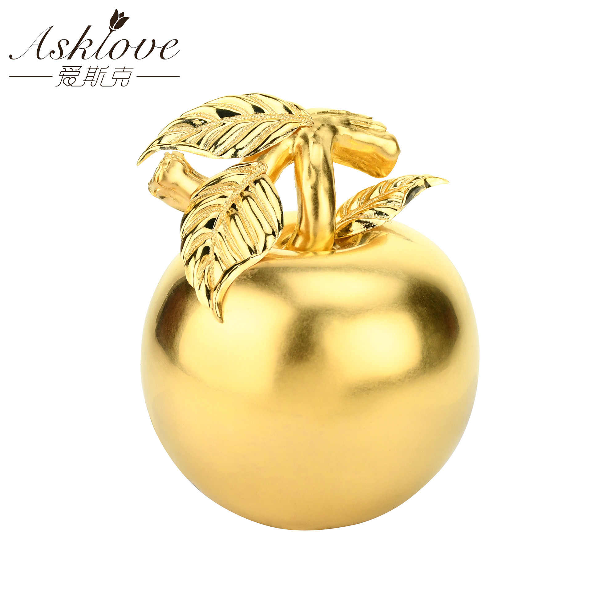 Sztuczne złoto jabłko świąteczne dekoracje 24k złota folia Ornament kreatywne prezenty na nowy rok luksusowe wyposażenie domu ze szklaną pokrywą