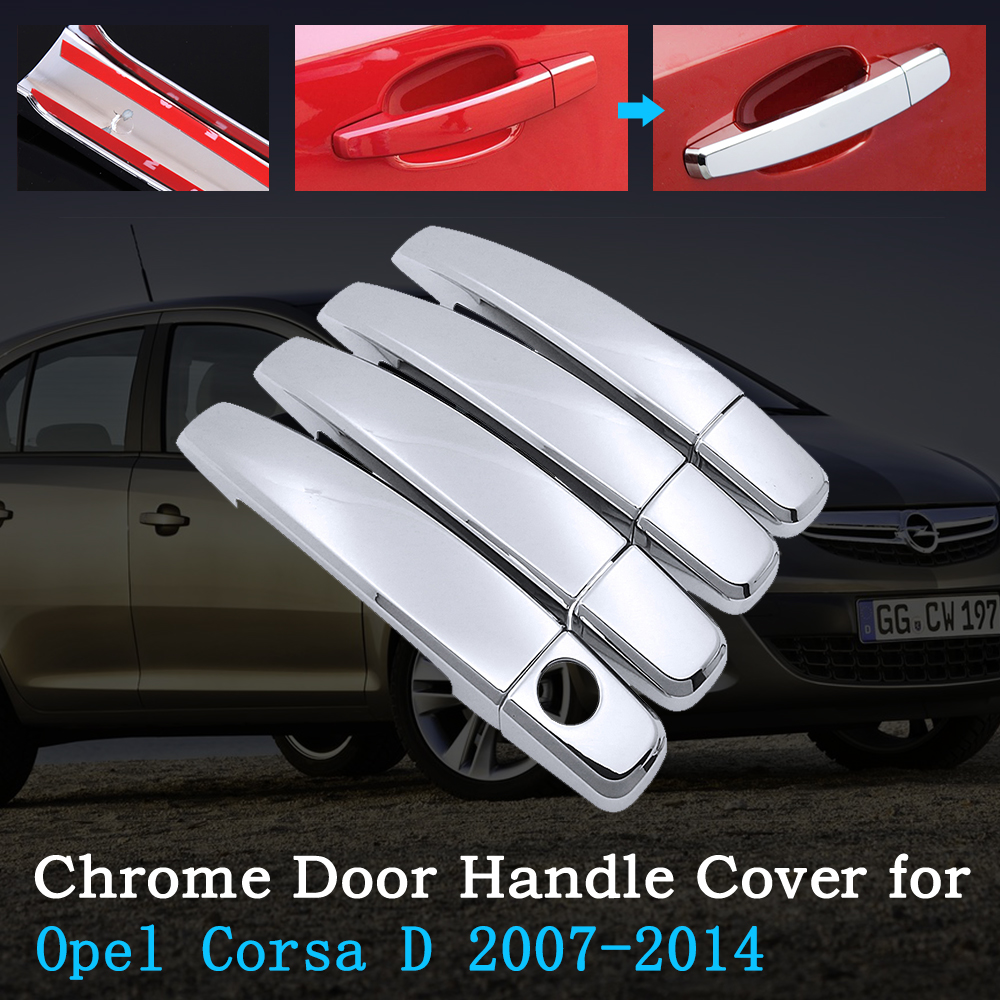 Chrome Car Door Handle Cover for <font><b>Opel</b></font> <font><b>Corsa</b></font> <font><b>D</b></font> <font><b>2007</b></font>~2014 Vauxhall <font><b>Corsa</b></font> Trim Set Exterior Accessories 2008 2009 2010 2012 2013 image