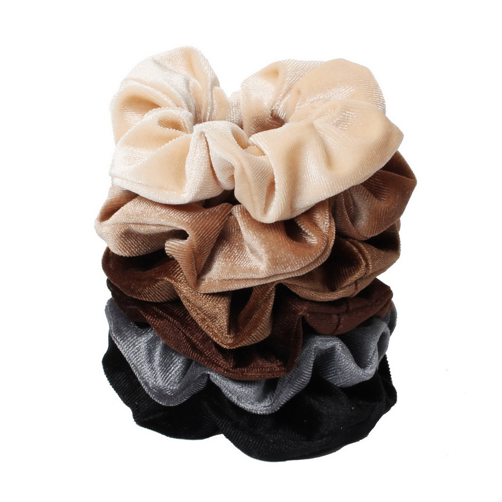 6pcs Velvet Scrunchies Wholesale Elastic Hair Bands For Women Solid Color Girls Ponytail Holder Hair Ties Hair Accessories