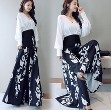 Spring and aummer new style Fashion temperament top + High Waist pants Two Piece chiffon fashion set