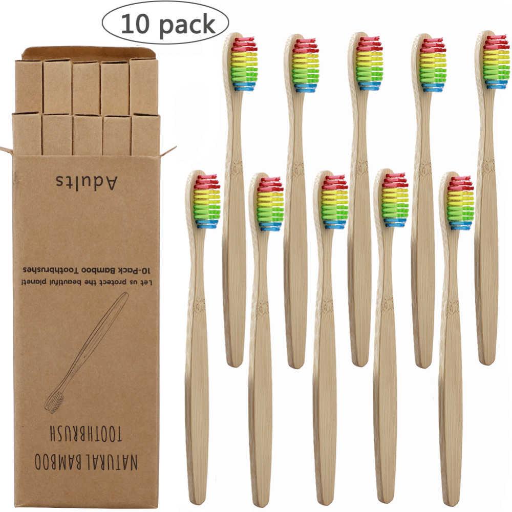 10Pcs מברשת שיניים ידידותית לסביבה קשת במבוק רך סיב מברשת שיניים מתכלה שיניים מברשת מוצק במבוק ידית מברשת שיניים