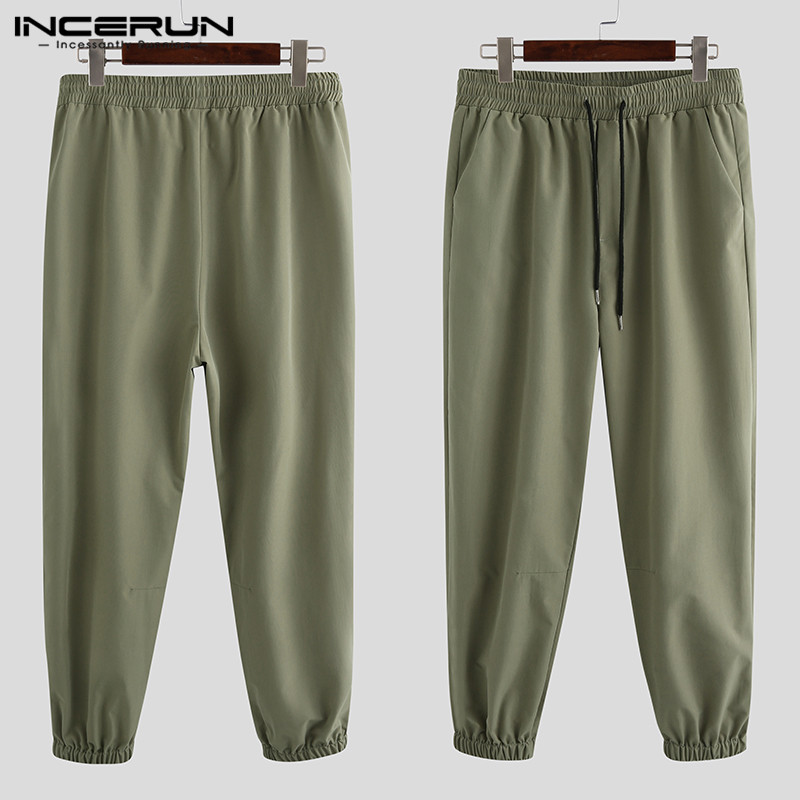 INCERUN 2020 Men Baggy Streetwear Pants Elastic Waist Solid Color Joggers Long Trousers Fashion Casual Men Cargo Pants Harajuku