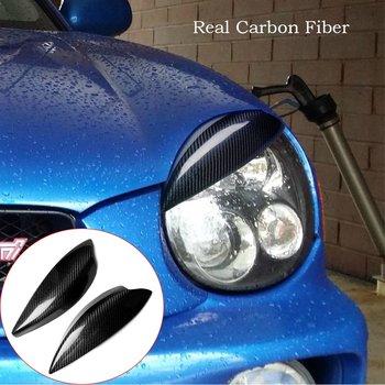 Carbon Fiber Headlight Eyelid Eyebtrow Trim For Subaru Impreza WRX STI 2002-2003