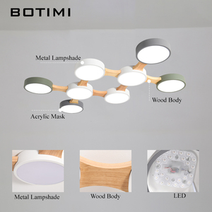 Image 5 - BOTIMI 220V LED Ceiling Lights With Round Metal Lampshade For Living Room Modern Surface Mounted Ceiling Light Wood Bedroom Lamp