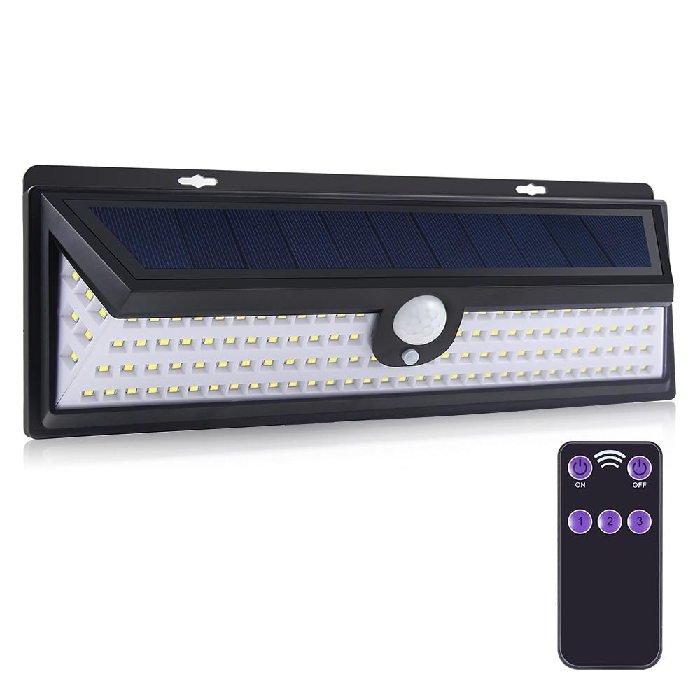 fagoozon 118led luzes solares de controle remoto 4 modos opcionais luz do sensor de movimento com
