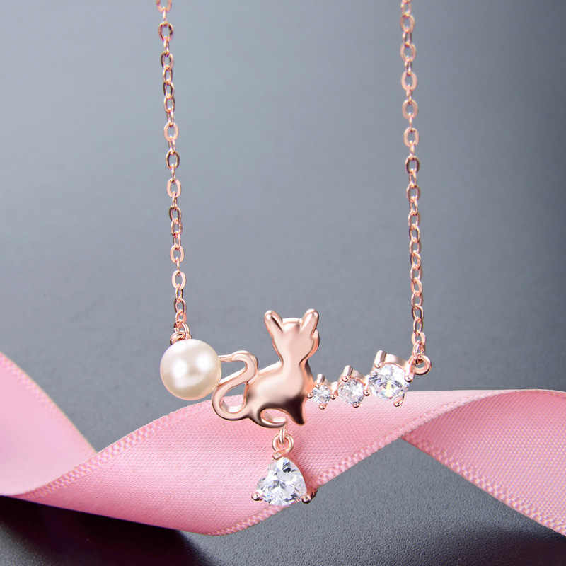 Jellystory Elegante 925 Sterling Silber Halskette mit Katze Form Perle Zirkon Edelsteine Anhänger Frauen Schmuck Hochzeit Party Geschenk