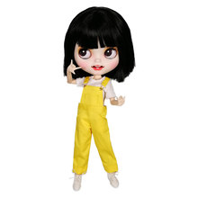 Cute Blyth Doll Clothes Set Bib Pants with T-Shirt Dressing for ICY, OB24, Azone, Baby Blyth Doll Accessories Christmas Outfit(China)