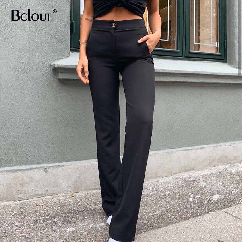 Bclout – pantalon Long noir pour femme, vêtement de bureau, Streetwear, mode, taille haute, coupe droite, couleur unie, Slim, avec poches, 2020