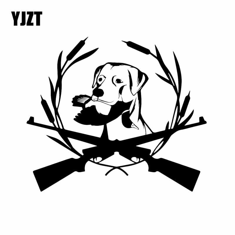 YJZT 16.6X14.3CM Intereting Car Stickers Vinyl Decal Hunting Dog Labrador Pet Animal Black/Silver C24-1461