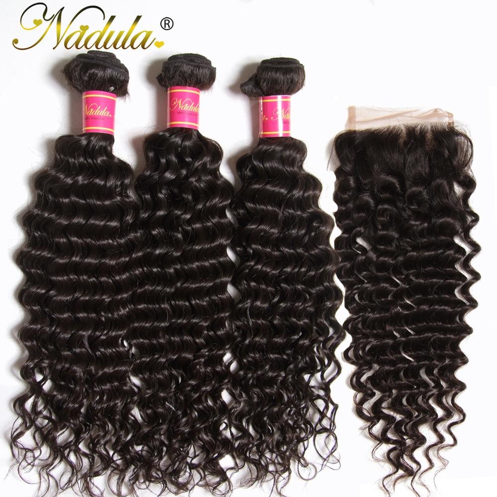 Nadula Hair Lace Closure  Deep Wave Hair Bundles With Closure 3 Bundles With Closure  Bundles With Closure 2