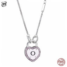 Authentic 925 Sterling Silver Heart Lock Your Promise Necklace With Natural Zircon For Women Charm DIY Jewelry(China)