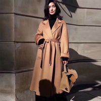 New High Quality Robe Style Handmade Doube Faced wavy Wool Coat Winter Outerwear Loose Oversize Women's Autumn Coat with Belt
