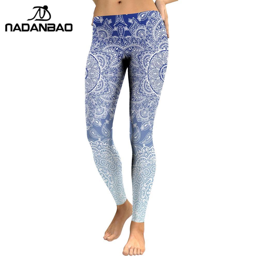 NADANBAO MANDALA Leggings Women Fitness Pants Flowers Printing Fashion Workout Leggins Outwear Slim Legin