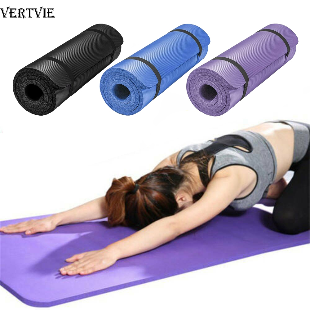 VERTVIE 60cmx25cmx1.5cm NBR Yoga Mat Non Slip Carpet Pilates Gym Sports Exercise Pads for Beginner Fitness Environmental Mats