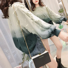 JULY 2019 Autumn And Winter New Fashion Sweet Women Loose Casual Gradient Tassel Pullover Sweater