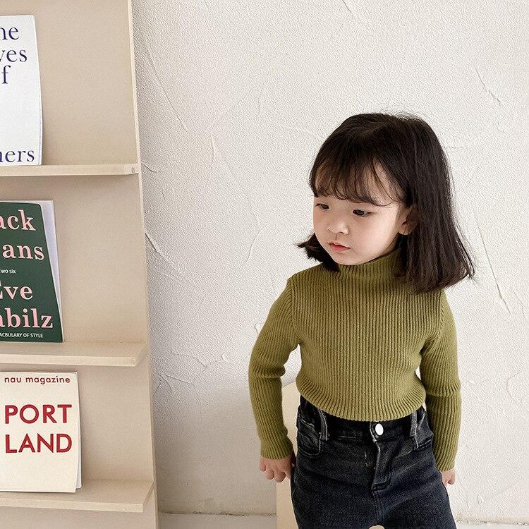 Зимний вязаный теплый свитер с высоким воротником для маленьких девочек, однотонный высокоэластичный Универсальный свитер с длинным рукав...