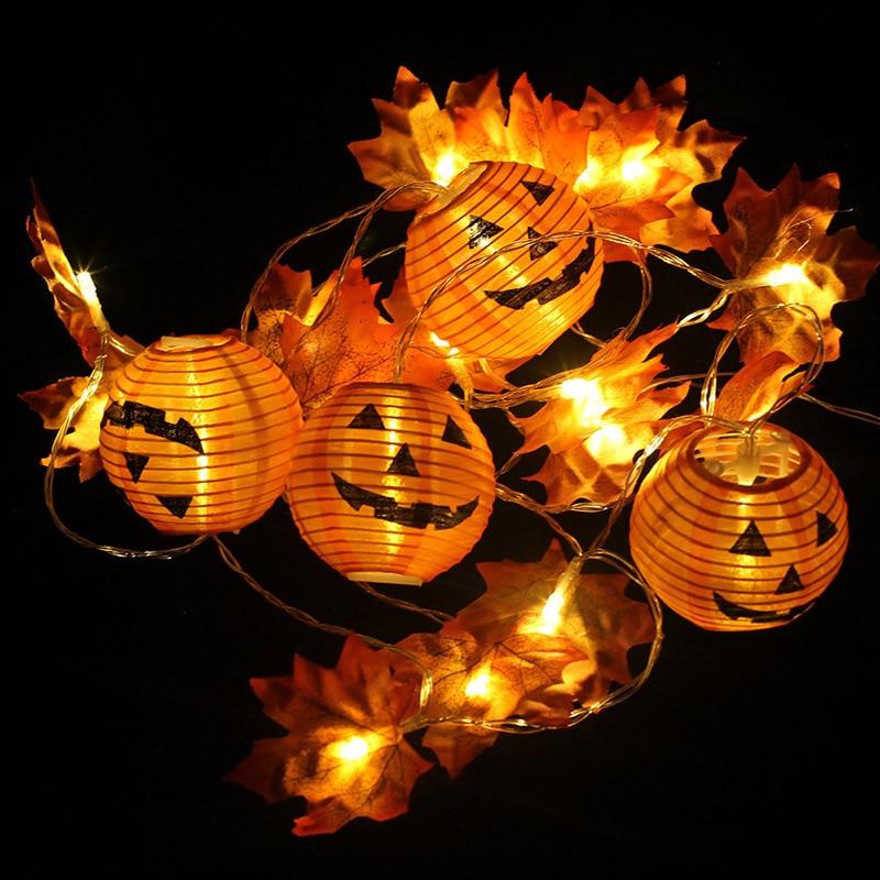 10/20 LED Pumpkin Maple Leaf Garland String Lights Halloween 3D Pumpkin Lights For Halloween Thanksgiving Fall Decoration Light