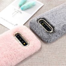 LCHULLE Cute Warm Furry Fluffy Case for Samsung S8 S9 S10 S7 Edge S10e