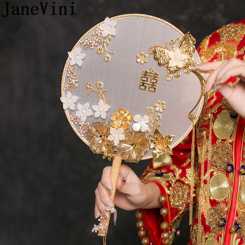 JaneVini Gold Floral Bouquet Bridal Fan Chinese Style Wedding Pearl Rhinestone Bride Bouquets Tassel Flowers Wedding Hand Fans