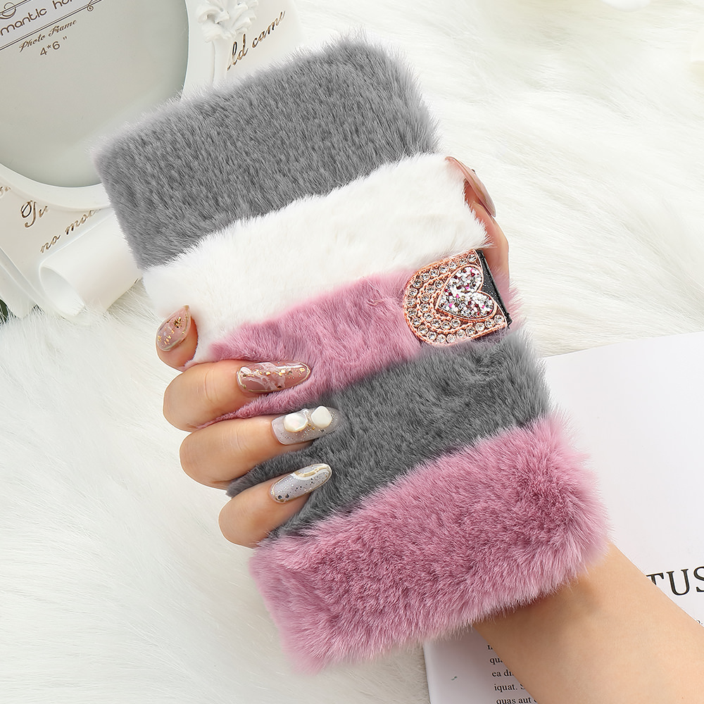 Flip Fluffy Fur Case for IPhone 11 Pro Max X Xr Xs Glitter Wallet Leather Soft Cover for Apple 7 Plus 8 6S 6 5 5S SE2 12 Pro Max